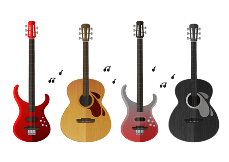 chanson: musical instruments isolated on white background. vector illustration
