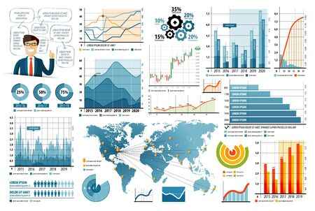 graphical chart: business infographics. graphs and diagrams isolated on white background. vector illustration Illustration