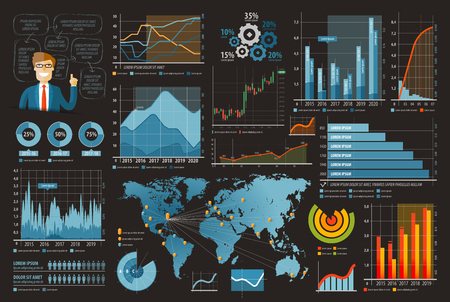 advance: business infographics. graphs and chart on a dark background. vector illustration