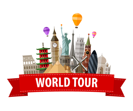 travelling: historical monument of world isolated on a white background. vector illustration