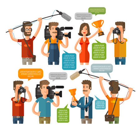 newsman: Journalism concept vector illustration in flat style. Mass media