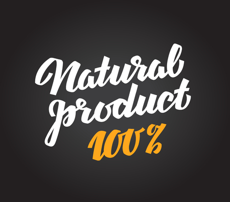 italics: natural product. calligraphic inscription handwritten on a black background