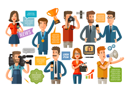 publicist: people icon set isolated on a white background. vector illustration Illustration