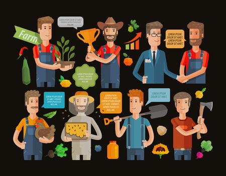 farmer and the farm icon set on black background. vector illustration 일러스트