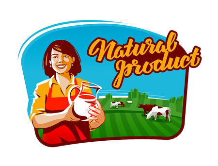 tomando leche: leche de vaca vector logo. lechera, granjero o icono de la granja