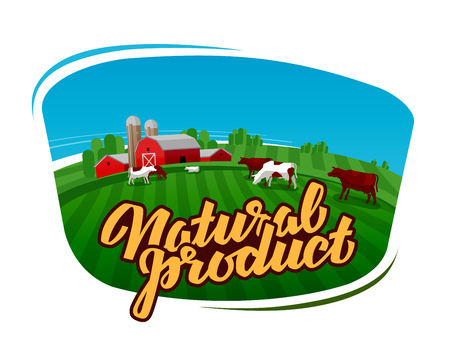 Vector of dairy cattle in grassland. vector illustration
