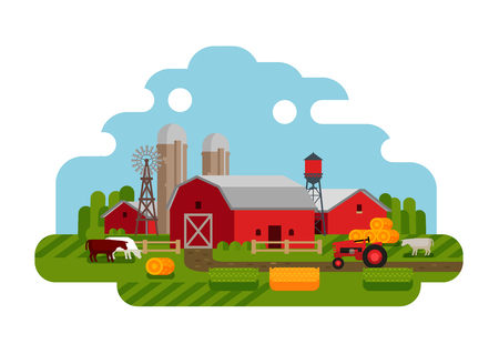 grain fields: farm isolated on a white background. vector illustration