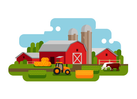 rural landscape: farm isolated on a white background. vector illustration