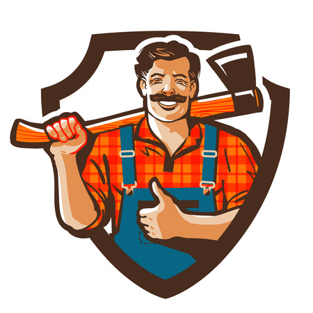 cartoon carpenter: woodcutter with axe in hand isolated on white background.