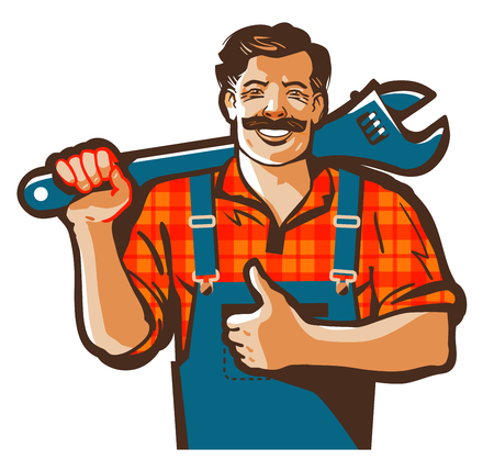 rehab: plumber with a wrench in his hand isolated on a white background.