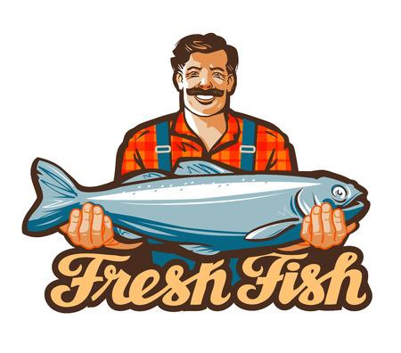 pecheur: pêcheur titulaire d'un gros poisson dans ses mains.