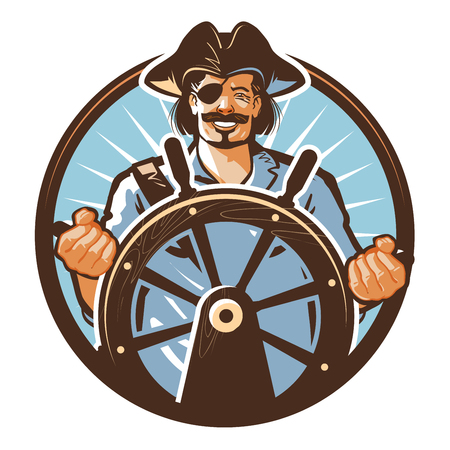 happy pirate and a steering wheel isolated on a white background.