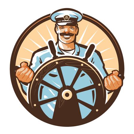 timon de barco: capitán de un barco y el timón aislado en un fondo blanco.