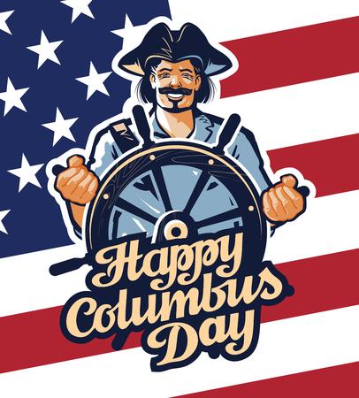 Cristoforo Colombo su sfondo bandiera americana Archivio Fotografico - 54649506