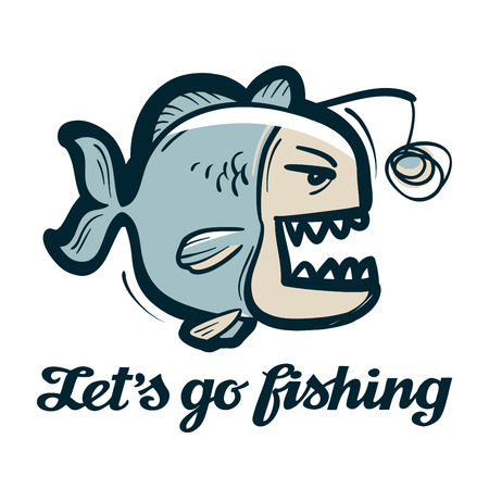 angling rod: funny anglerfish isolated on a white background Illustration