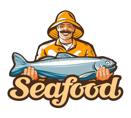 coger: Pescador feliz que sostiene un pez grande. ilustración Vectores