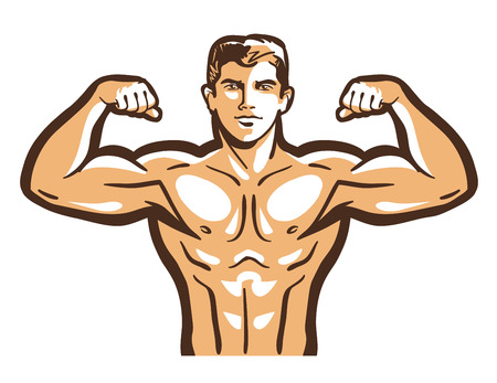 Strong bodybuilder straining muscles isolated on a white background. illustration
