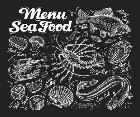 seafood is a sketch  on a black background. illustration Illustration