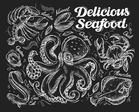 crab meat: seafood sketch  on a black background. illustration