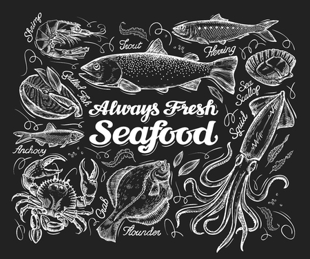 seafood sketch  on a black background. illustration