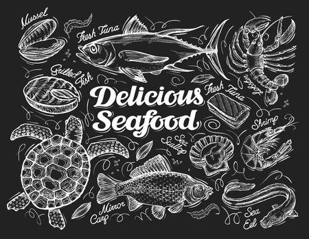 fruits de mer croquis sur un fond noir. illustration