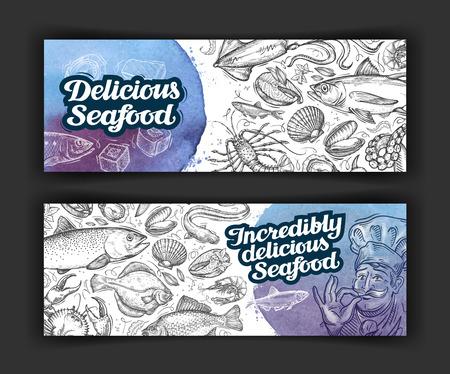 seafood. design menu template for restaurant or cafe. illustration