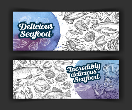 seafood. design menu template for restaurant or cafe. illustration