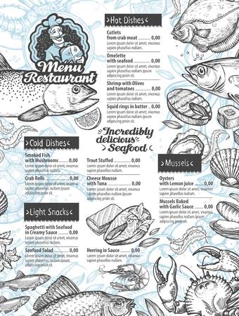 gastronomy: menu design.  sketches of seafood. illustration