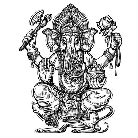 Hand drawn sketch vector illustration Ganesh Chaturthi
