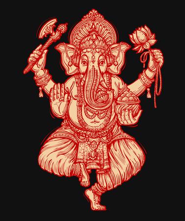 blessing: Happy Ganesh Chaturthi. Vector illustration of Hindu lord