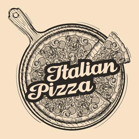 cutting board: Italian pizza. Hand drawn food. Sketch vector illustration Illustration