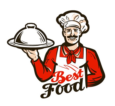 restaurant, diner vector logo. dish, meal, food or chef icon 일러스트