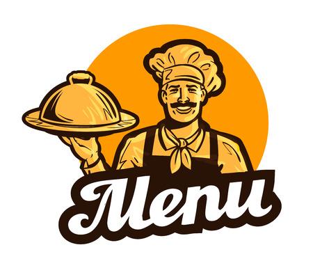 レストラン、カフェのベクトルのロゴ。メニューの料理、食品や料理、シェフ アイコン  イラスト・ベクター素材