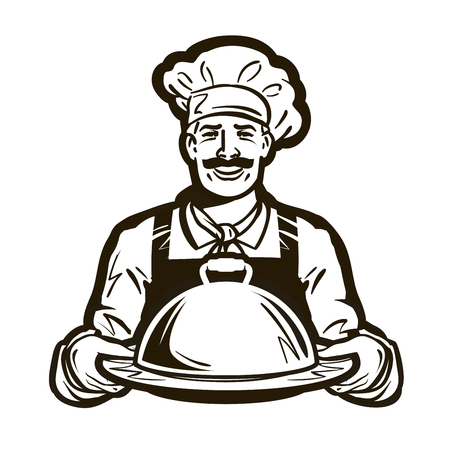 catering service: cook, chef vector logo. restaurant, cafe or dish, meal, food icon