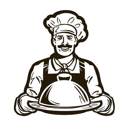 cuisinier, vecteur chef logo. restaurant, café ou un plat, repas, icône de la nourriture Logo