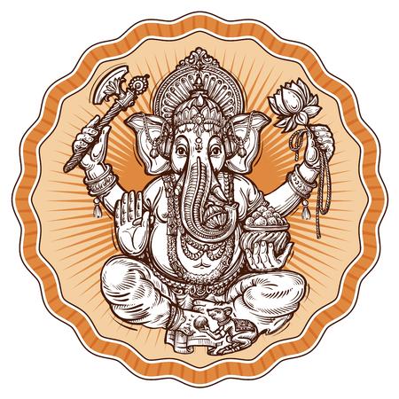 ganesh: Ganesh Chaturthi. símbolo religioso del hinduismo. ilustración vectorial