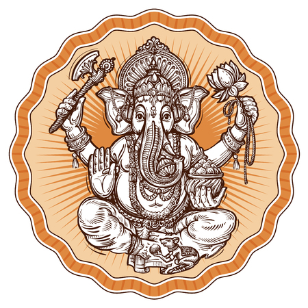 ganesh: Ganesh Chaturthi. s�mbolo religioso del hinduismo. ilustraci�n vectorial