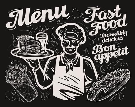ファーストフード。黒板メニューのレストラン、カフェ、飲食店、食堂