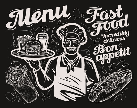 fast food. chalkboard menu restaurant, cafe and eatery, diner
