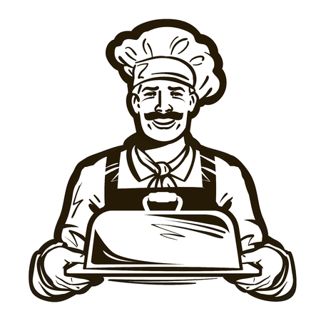 hot plate: chef with hat and hot plate tray. vector illustration