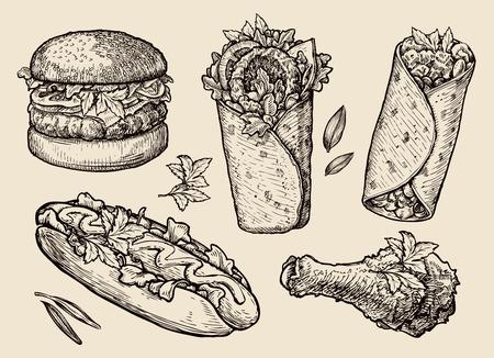 gyros: fast food. sketch hamburger, pizza, sandwich, hot dog, gyros Illustration
