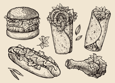 fast food. sketch hamburger, pizza, sandwich, hot dog, gyros Illustration