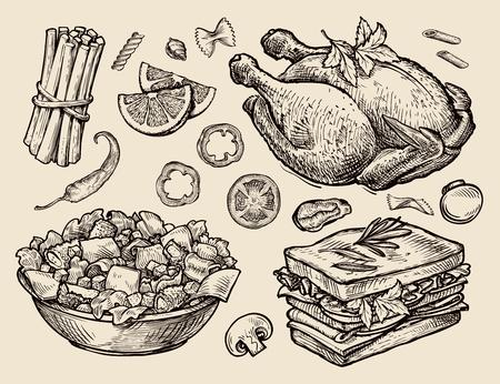 bocetos de personas: comida. dibujado a mano bosquejos del vector Vectores