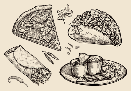 ham sandwich: sketch food, pizza, sandwich, tacos, nachos. vector illustration Illustration