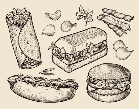 veal sausage: food. vector sketch cheeseburger, burritos, sandwich, hot dog Illustration