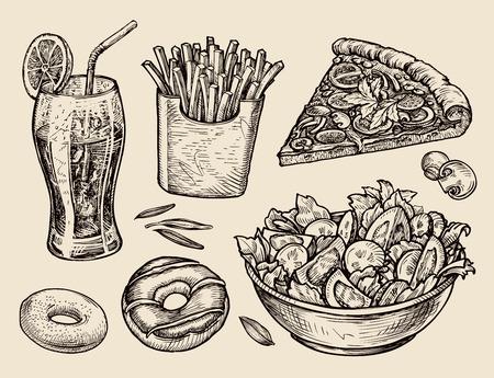 食品。ソーダ、フライド ポテト、ピザ、サラダをスケッチします。ベクトル図