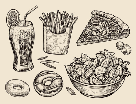 aerated: food. sketch soda, fries, pizza, salad. vector illustration Illustration
