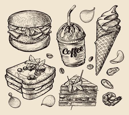 plato de pescado: comida. vector esbozo hamburguesa, café, helado, bocadillo, pan tostado
