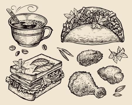 food. vector sketch coffee cup, tacos, sandwich, chicken