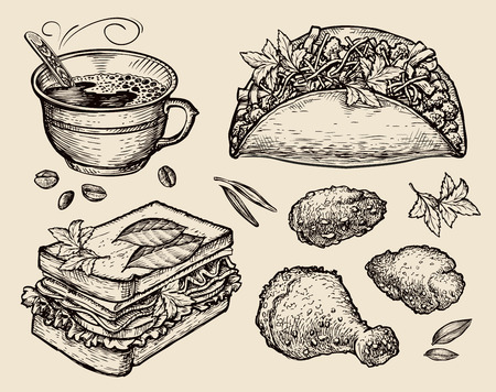 food dish: food. vector sketch coffee cup, tacos, sandwich, chicken